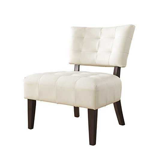 beautiful white leather accent chair