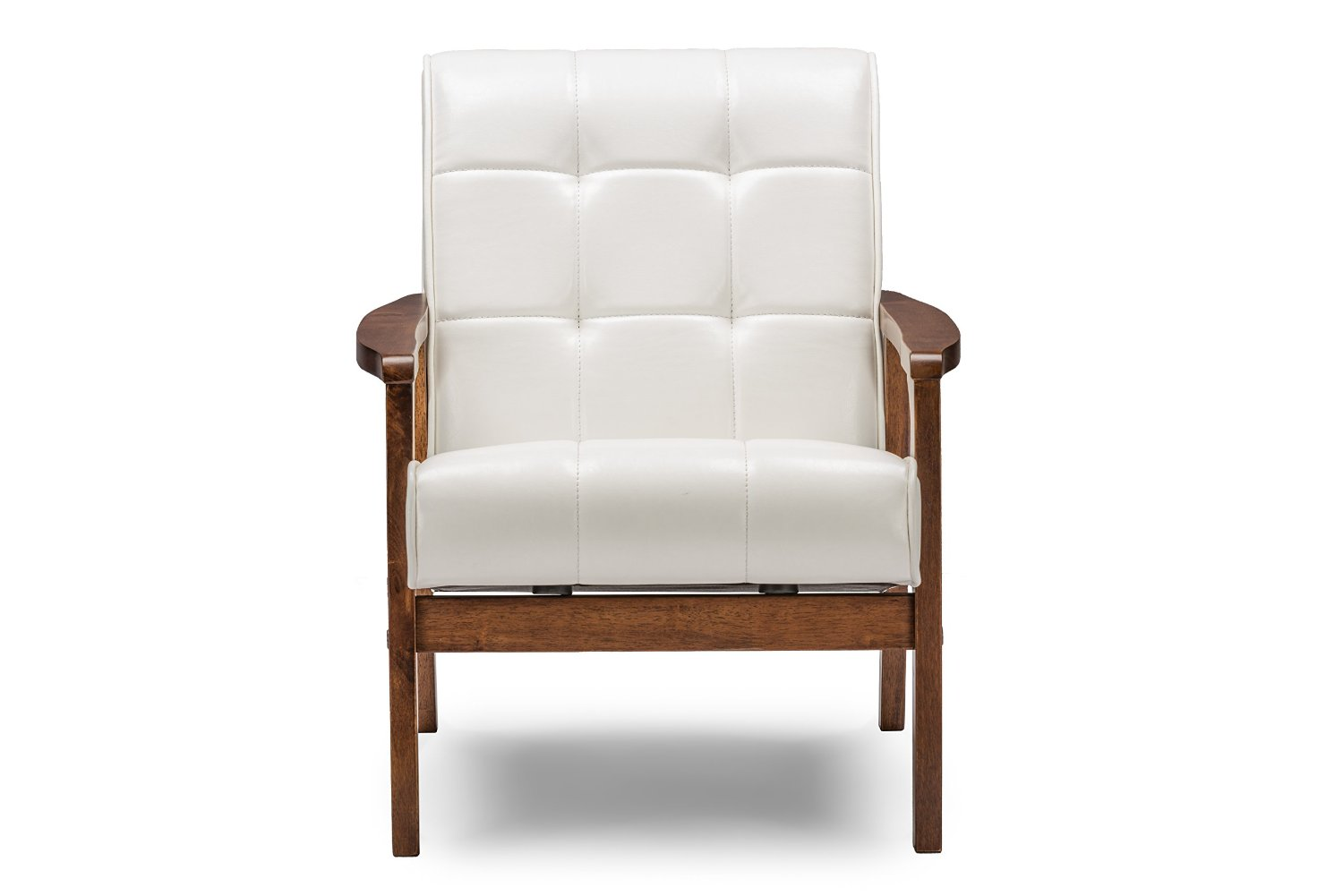 Elegant White Leather Accent Chair